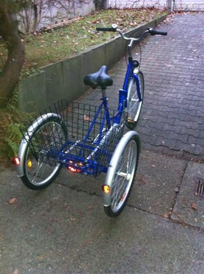 Dreirad für Erwachsene (Senioren), zusammenklappbar, blau metallic