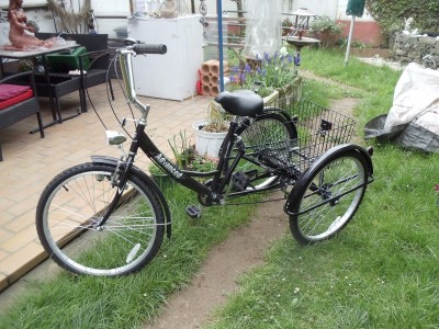erwachsenen dreirad lasten fahrrad senioren rad 24 zoll. Black Bedroom Furniture Sets. Home Design Ideas