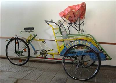 Rikscha traditionell Lastenrad Dreirad gelbblau Lichtenstein Sachsen