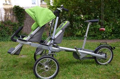 Taga Eltern Kind Fahrrad Buggy gruen mit Zweitsitz ...