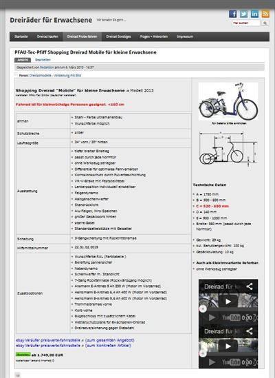 Werbung Schalten für Dreiradhändler › Dreirad für Erwachsene